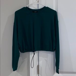 Cropped Emerald Green Pullover
